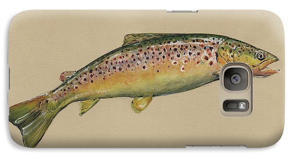 Trout Galaxy S7 Case - Brown Trout Jumping by Juan Bosco