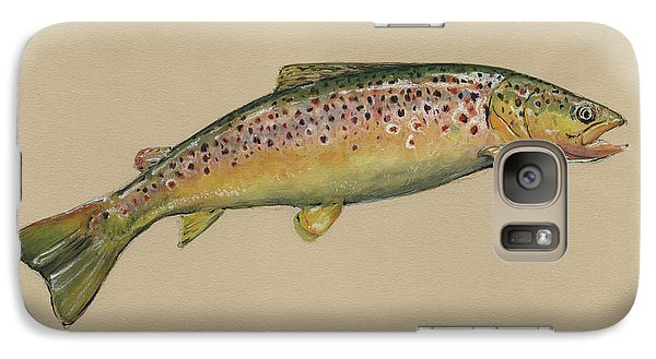 Brown Trout Jumping Galaxy Case by Juan Bosco