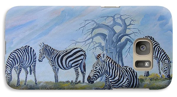 Galaxy Case featuring the painting Browsing Zebras by Anthony Mwangi
