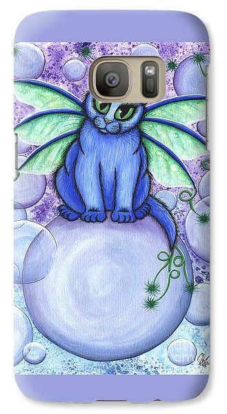 Galaxy Case featuring the painting Bubble Fairy Cat by Carrie Hawks