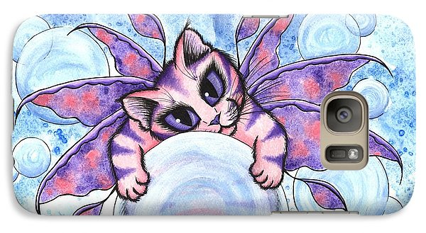 Galaxy Case featuring the painting Bubble Fairy Kitten by Carrie Hawks
