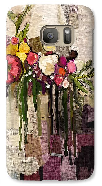 Galaxy Case featuring the painting Bucket Of Flowers by Carrie Joy Byrnes