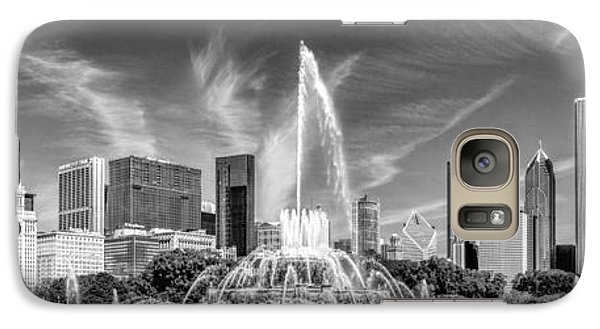 Buckingham Fountain Skyline Panorama Black And White Galaxy S7 Case