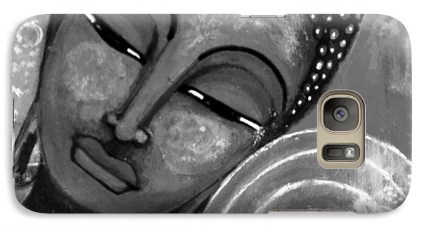 Galaxy Case featuring the mixed media Buddha In Grey Tones by Prerna Poojara