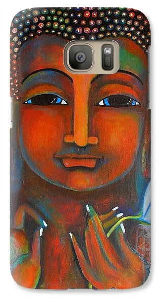 Galaxy Case featuring the painting Buddha With A White Lotus In Earthy Tones by Prerna Poojara