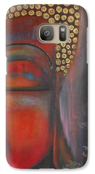 Galaxy Case featuring the painting Buddha With Floating Lotuses by Prerna Poojara