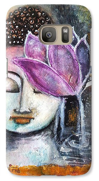 Galaxy Case featuring the mixed media Buddha With Torn Edge Paper Look by Prerna Poojara