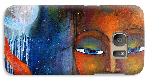 Galaxy Case featuring the painting Buddhas Robe Reaching For The Moon by Prerna Poojara