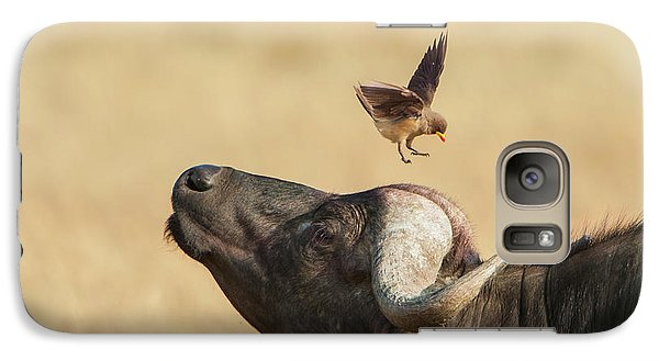 Galaxy Case featuring the photograph Buffalo And Oxpecker Bird by Phyllis Peterson