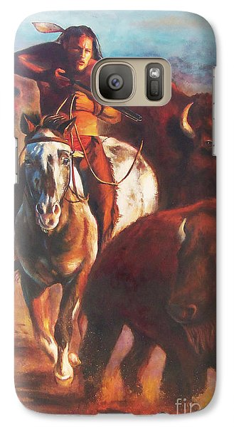 Galaxy Case featuring the painting Buffalo Hunt by Karen Kennedy Chatham