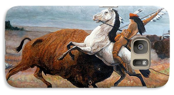 Galaxy Case featuring the painting Buffalo Hunt by Tom Roderick