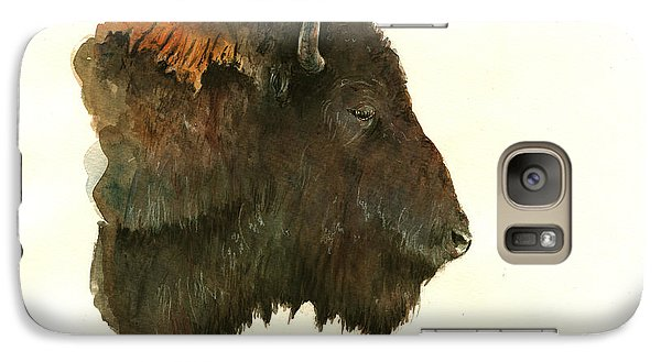 Buffalo Galaxy S7 Case - Buffalo Portrait Head by Juan  Bosco