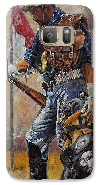 Galaxy Case featuring the painting Buffalo Soldier Outfitted by Harvie Brown