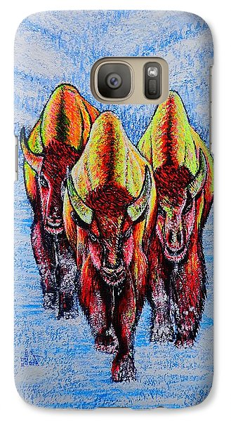 Galaxy Case featuring the painting Buffalos by Viktor Lazarev