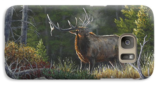 Galaxy Case featuring the painting Bugling Bull by Kim Lockman