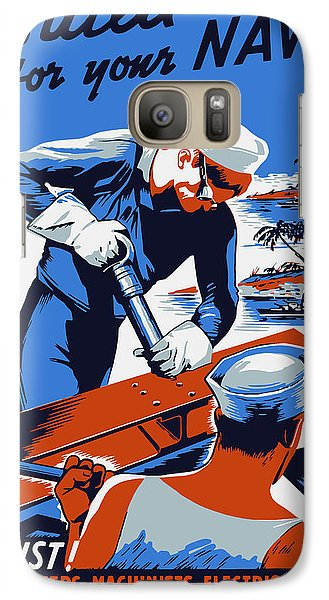 Galaxy Case featuring the painting Build For Your Navy - Ww2 by War Is Hell Store