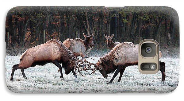 Galaxy Case featuring the photograph Bull Elk Fighting In Boxley Valley by Michael Dougherty