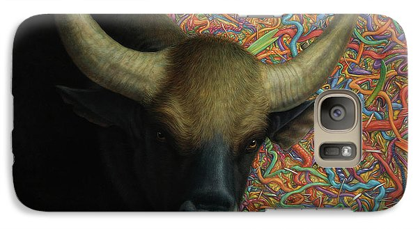 Bull Galaxy S7 Case - Bull In A Plastic Shop by James W Johnson