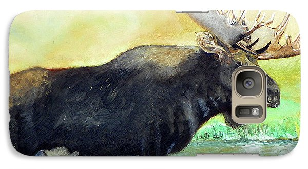 Galaxy Case featuring the painting Bull Moose In Mid Stream by Sherril Porter