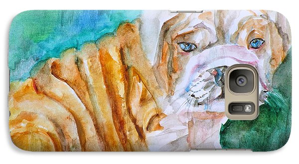 Galaxy Case featuring the painting Bulldog Cub  - Watercolor Portrait by Fabrizio Cassetta