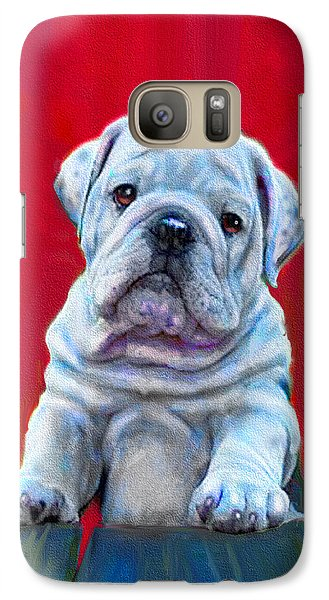 Galaxy Case featuring the digital art Bulldog Puppy On Red by Jane Schnetlage