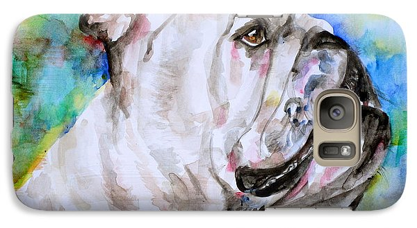 Galaxy Case featuring the painting Bulldog - Watercolor Portrait.4 by Fabrizio Cassetta
