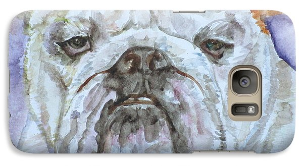 Galaxy Case featuring the painting Bulldog - Watercolor Portrait.5 by Fabrizio Cassetta