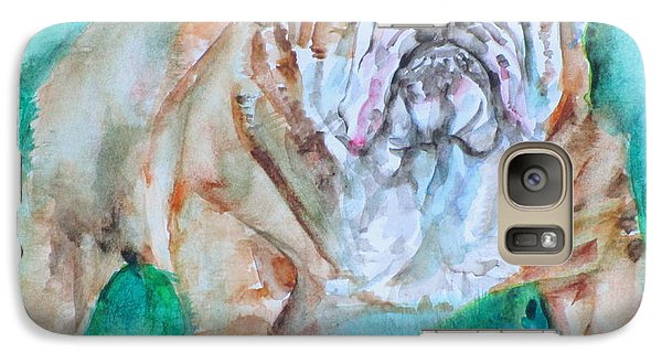 Galaxy Case featuring the painting Bulldog - Watercolor Portrait.6 by Fabrizio Cassetta