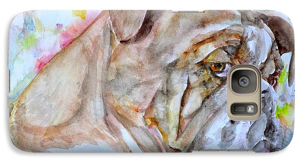 Galaxy Case featuring the painting Bulldog - Watercolor Portrait.7 by Fabrizio Cassetta