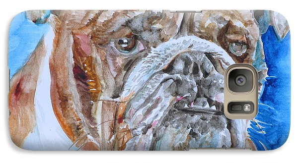 Galaxy Case featuring the painting Bulldog - Watercolor Portrait.8 by Fabrizio Cassetta