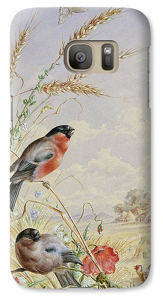 Bullfinches In A Harvest Field Galaxy Case by Harry Bright