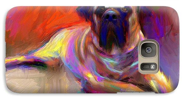 Bullmastiff Dog Painting Galaxy Case by Svetlana Novikova