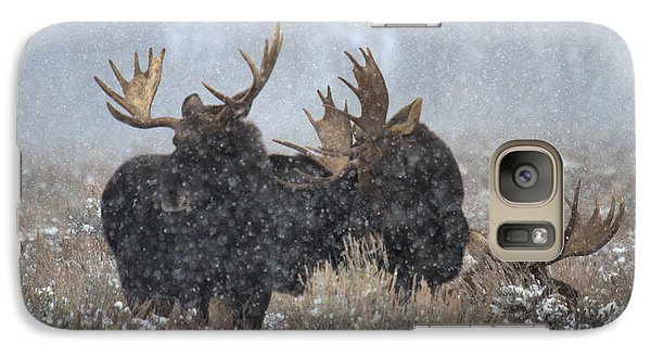 Galaxy Case featuring the photograph Bulls In The Snow by Adam Jewell