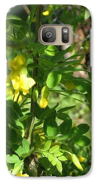 Galaxy Case featuring the photograph Bumblebee In Flight In Yellow Flowers by Barbara Yearty