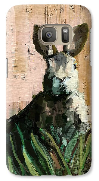 Galaxy Case featuring the mixed media Bunny by Carrie Joy Byrnes