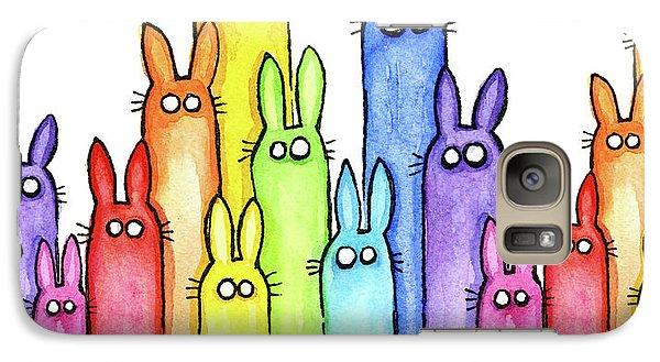 Bunny Rainbow Pattern Galaxy S7 Case by Olga Shvartsur