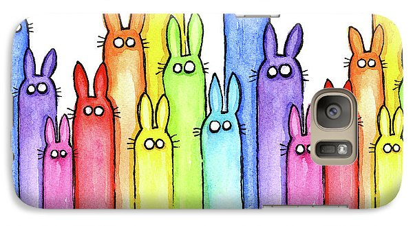 Bunny Rainbow Pattern Galaxy Case by Olga Shvartsur