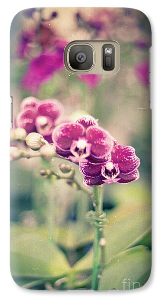 Galaxy S7 Case featuring the photograph Burgundy Orchids by Ana V Ramirez