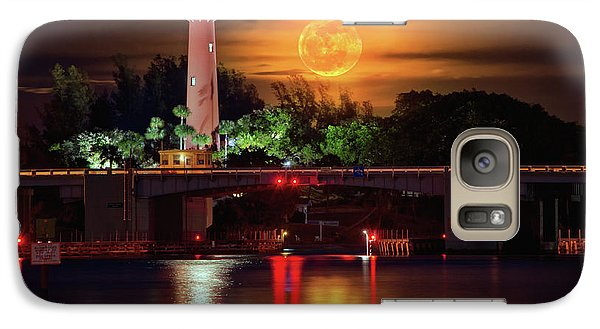 Galaxy Case featuring the photograph Burning Moon Rising Over Jupiter Lighthouse by Justin Kelefas