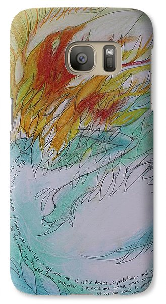 Galaxy Case featuring the drawing Burning Thoughts by Marat Essex