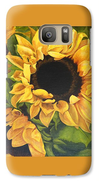 Galaxy Case featuring the painting Burst Of Sunflowers by Sandra Nardone