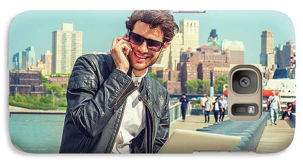 Businessman Enjoying Working Outside Galaxy S7 Case