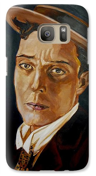 Galaxy Case featuring the painting Buster Keaton Tribute by Bryan Bustard