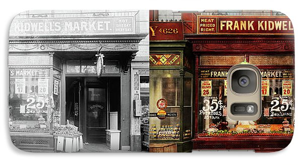 Galaxy Case featuring the photograph Butcher - Meat Priced Right 1916 - Side By Side by Mike Savad