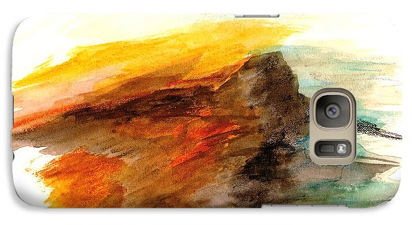 Galaxy Case featuring the painting Butte At Sunset by Fred Wilson