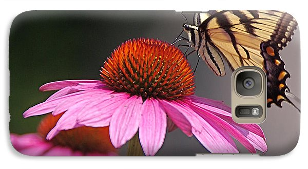 Galaxy Case featuring the photograph Butterfly And Coneflower by Byron Varvarigos