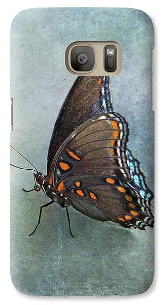 Galaxy Case featuring the photograph Butterfly On Blue by Sandy Keeton