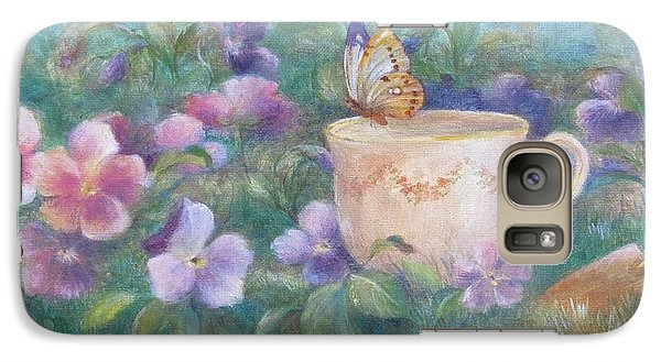 Galaxy Case featuring the painting Butterfly On Teacup by Judith Cheng