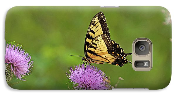 Galaxy Case featuring the photograph Butterfly On Thistle by Sandy Keeton