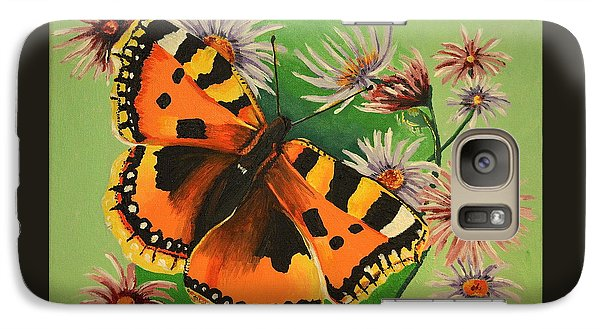Galaxy Case featuring the painting Butterfly With Asters by Donna Blossom